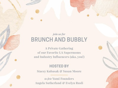Brunch + Bubbly Invite stationary flora gold grey pink print design floral event invitation watercolor illustration