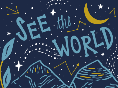 See the World Illustration blue screen print leaves travel galaxy moon stars mountains sky hand drawn digital illustration