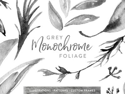 Grey Monochrome Foliage custom surface pattern design illustration hand painted watercolor leaves foliage monochrome gray grey