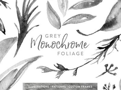 Grey Monochrome Foliage custom surface pattern design illustration hand painted watercolor leaves foliage monochrome gray grey