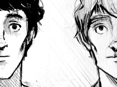 Twins ink graphite process brush illustration sketch twins graphic novel character design