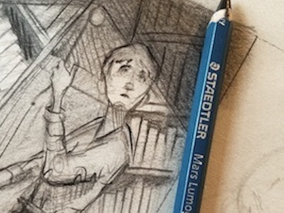Composing graphite process illustration drawing graphic novel