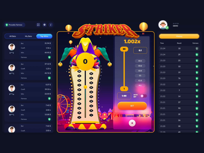 Striker - Game gambling design aftereffects css animation css grid css3 animations css graphic clown carnival gambling art game hammer striker gambling