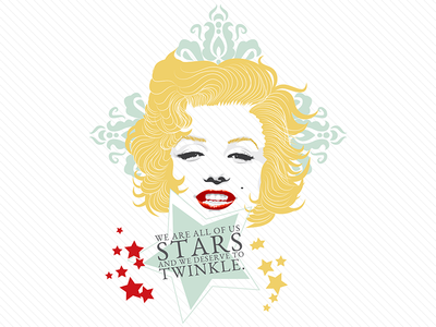 We are all Stars quote portrait illustration monroe