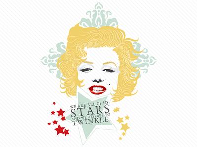 We are all Stars quote portrait illustration monroe