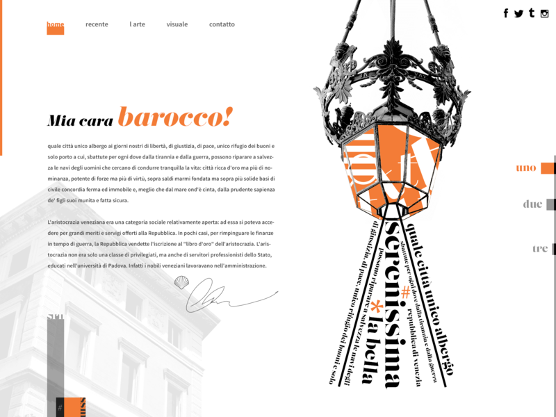 Mia cara barocco! aesthetic template design template ux design ui lifestyle typography webdesign