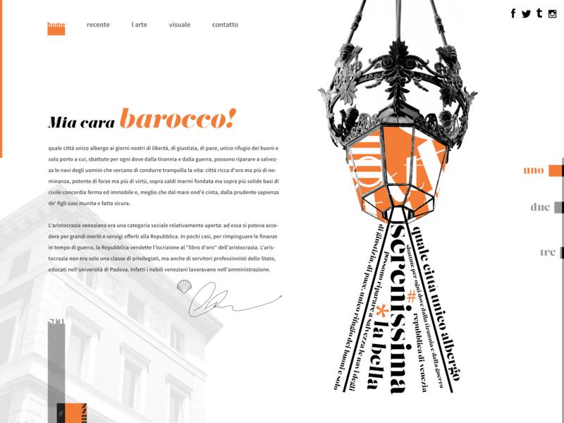 Mia cara barocco! aesthetic template design template ux design ui lifestyle typography webdesign