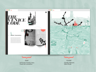 The Venice Code footer design header design bookdesign collage composing photos photoshop ui ux typography lifestyle design webdesign