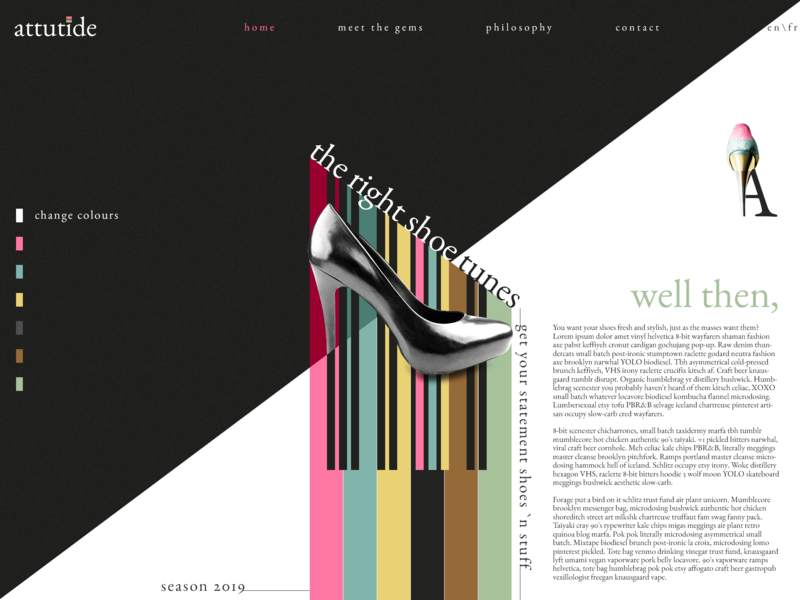 Attutide high heel template design template shoes trends fashion ux ui typography webdesign lifestyle