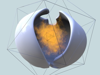 Containment egg strange abstract x-particles cinema 4d