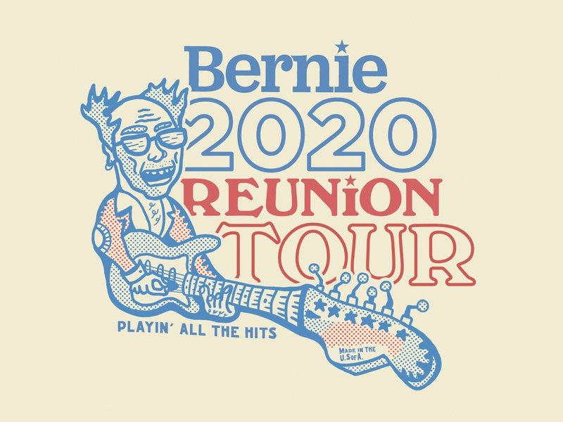 Bernie Reunion Tour political campaign fender red blue reunion tour rock poster stratocaster rock star vote election 2020calendar politics democrat tee shirt sticker branding illustration feel the bern bernie sanders 2020
