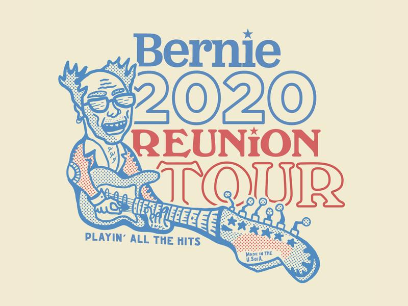 Bernie Reunion Tour political campaign fender red blue reunion tour rock poster stratocaster rock star vote election 2020calendar politics democrat tee shirt sticker branding illustration feel the bern bernie sanders 2020