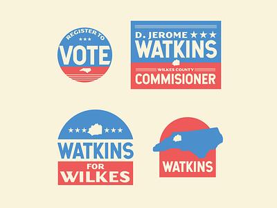 Watkins Campaign Assets illustration badge logo state local 2020 vote arch campaign design badge brand identity branding small town north carolina democrat election politics poitical campaign