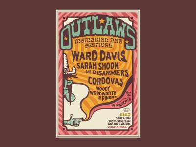 Outlaw Festival Poster star usa branding illustration ink trippy cloud smoke finger hand gun cowboy gig poster band music country music country outlaw rock poster
