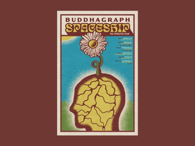 Spring Tour Poster spaceship sun spring poster seed roots plant psychedelic trippy profile head sprout flower illustration rock art band poster music