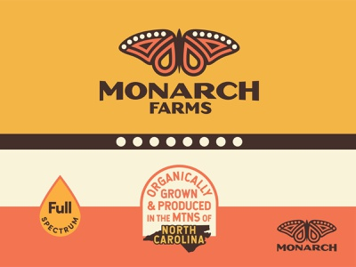 Monarch Brand Identity badge design brand identity full spectrum dots monarch butterfly badge vintage weed oil north carolina illustration design cannabis logo branding