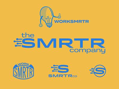 SMRTRco Brand Identity character brainstorm mascot design think hard hat hand s logo construction technology circuit node badge illustration branding and identity branding logo smart lightbulb brain