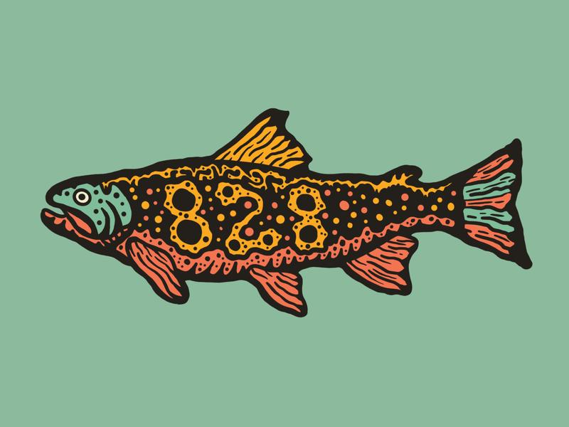 828 Trout Illustration peaks mountain vintage design branding logo illustration stream river creek fishing coral teal great asheville north carolina fish trout hat design