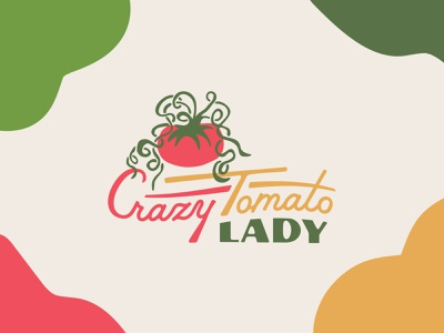 Crazy Tomato Lady Identity product chutney jam fruit vegetable yellow redshift3d green hoodzpah female logo lady crazy tomato badge vintage north carolina design branding logo illustration