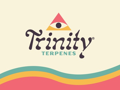 Trinity Terpenes Branding california groovy psychedelic trippy pyramid third eye eye flat design color rainbow edibles pot weed trichome terpene recreational cannabis logo design logo branding logo