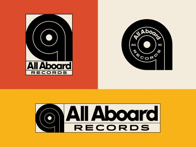 All Aboard Records Logo System illustration badge vintage badge logo design groove studio music record vinyl vinyl logo north carolina asheville rock n roll logo rock band independent record label record company branding logo