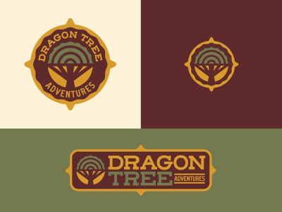 Dragon Tree Adventures Brand Identity yellow gold brown green tree trunk design icon design badge dragon tree compass wander travel adventure outdoors vector icon illustration branding logo