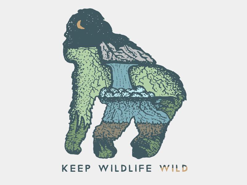 Keep Wildlife Wild  conservation jane goodall monkey mountain rocks jungle waterfall illustration gorilla wild wildlife