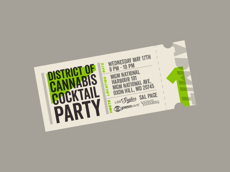 Party Ticket time date cocktail one admit cream stub washington dc cannabis party ticket