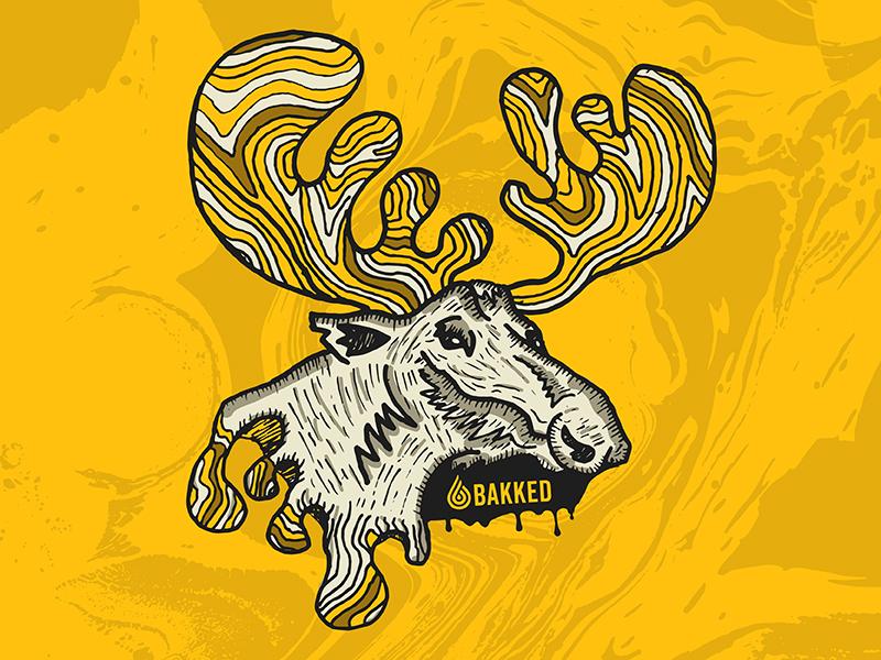 Oil Moose Illustration albino weed animal droplet waves sticker diecut gold antlers moose cannabis wax