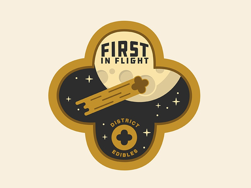 Space Flight Patch stars logo spaceman space moon asteroid comet gold patch edibles cannabis