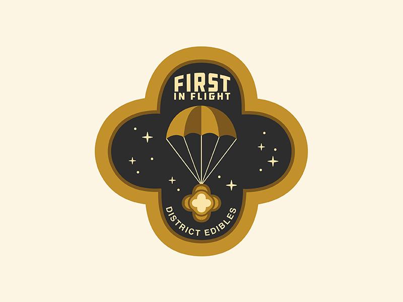District Edibles Flight Patch 2 patch star colorado cannabis edible astronaut space parachute