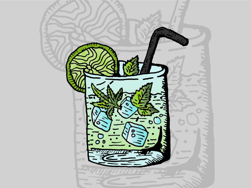 Mojito • Strain Illustrations liquid glass strain colorado cannabis alcohol vodka tequila mint margarita mojito
