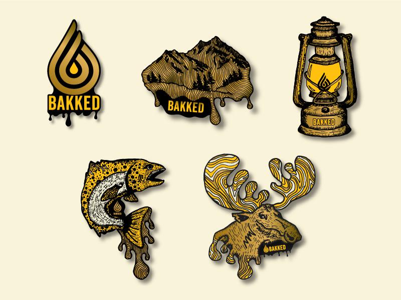 Pin Series logo oil lamp lantern fish moose colorado cannabis branding illustration gold pin