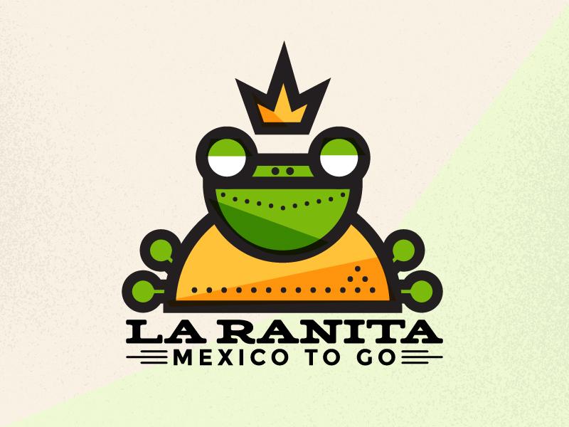Little Frog Food Truck Branding north carolina chees line eye mexican burrito taco logo food truck king frog