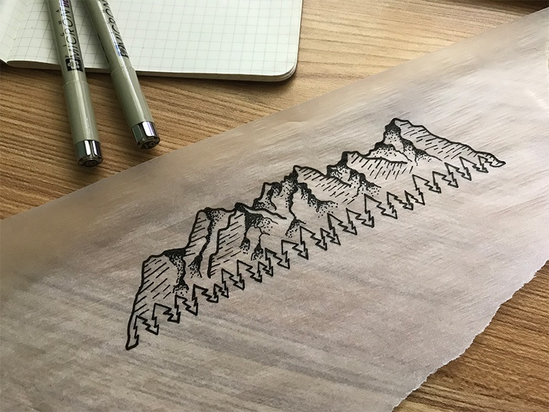 14ers Tattoo Illustration micron illustration stipple lines negative space pine trees 14er colorado mountains tattoo