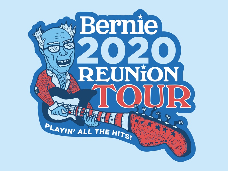Bernie Reunion Tour Sticker trump rock and roll president election 2020 shred democrat logo politics tour band guitar sanders bernie