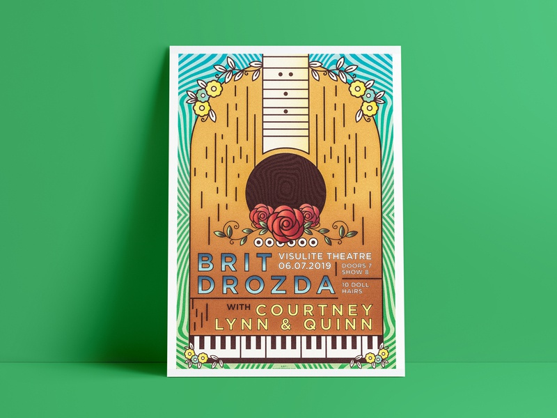 Folk Band Show Screenprint asheville charlotte band merch show trippy north carolina spring flowers rose folk piano guitar screenprint poster rock music band