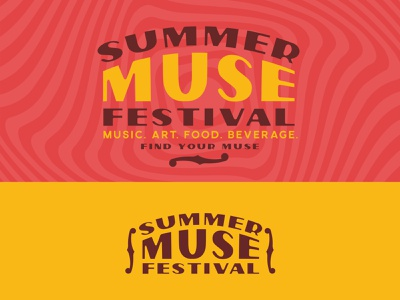 Summer Muse Festival Branding bluegrass stadium food art festival muse coral yellow warm guitar mandolin fiddle f hole logo branding music festival musician music