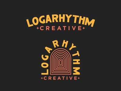Logarhythm Creative Branding mustard yellow red color vintage retro identity creative doorway thick lines advertising asheville north carolina vector typography design logo branding illustration