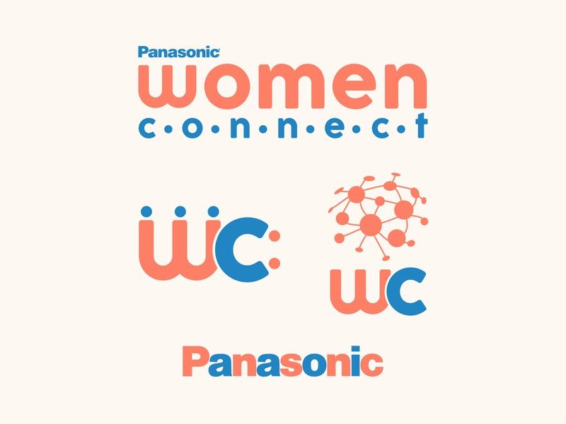 Panasonic Women Connect Conference and Campaign tech dot globe pink brand identity badge identity system identity design conference branding logo illustration