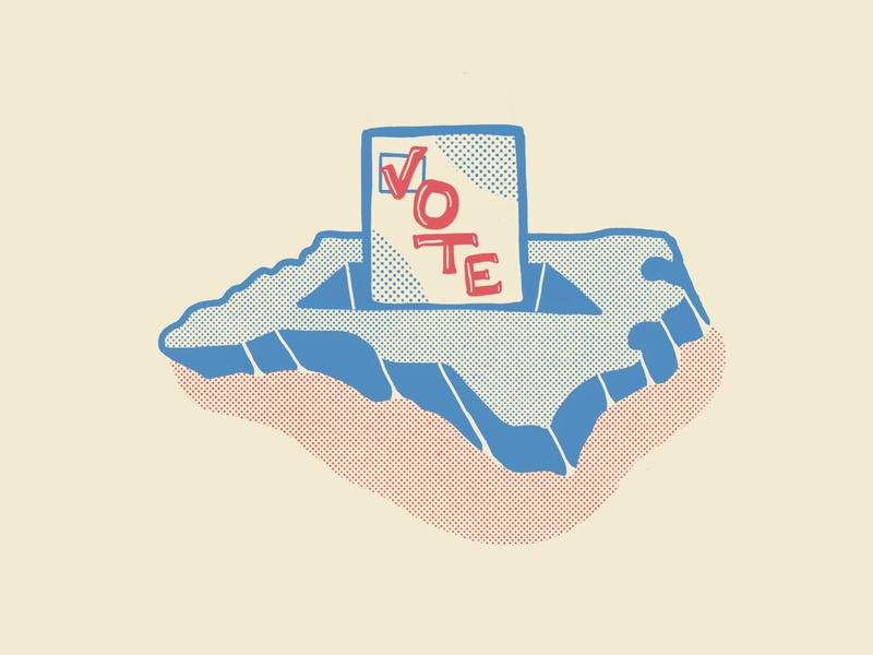 NC Vote Illustration voter check box checkbox illustration illustrator north carolina halftone republican democrat politicl blue red election ballot vote