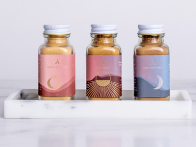 The Rital Blend Designs branding sun moon label supplement packaging print