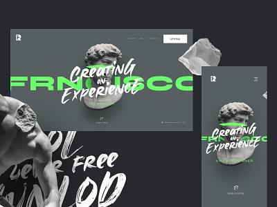 FREE UI Interactive Portfolio D/M app prototype adobexd portfolio download free freebie agency colors concept modern marketing web design ux ui