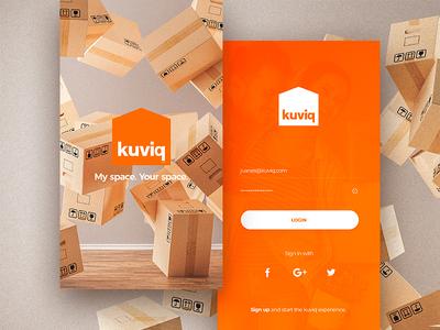kuviq - Splash / Login UI screen splash login onboarding ui app orange