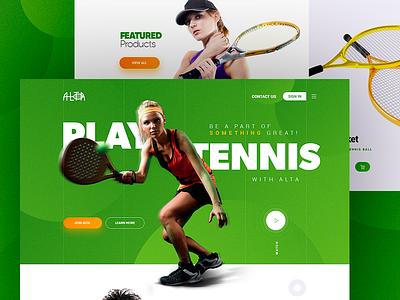 Play Tennis - UI design marketing ux ui modern green web landing tennis