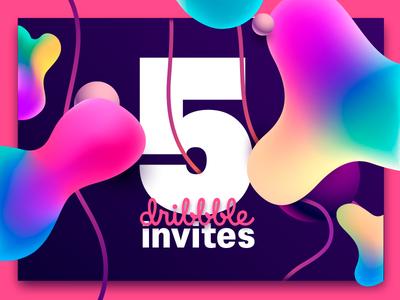 5 Dribbble Invites photoshop login five concept web colors forms ux ui design dribbble invites