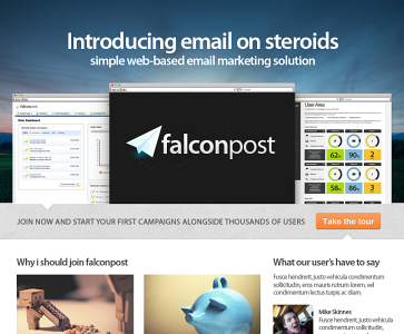 Falconpost homepage mock2