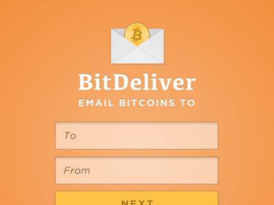 BitDeliver bitcoin ui interface design orange bitdeliver email button input ux web webapp web app app tinybyteapps tinybyte apps