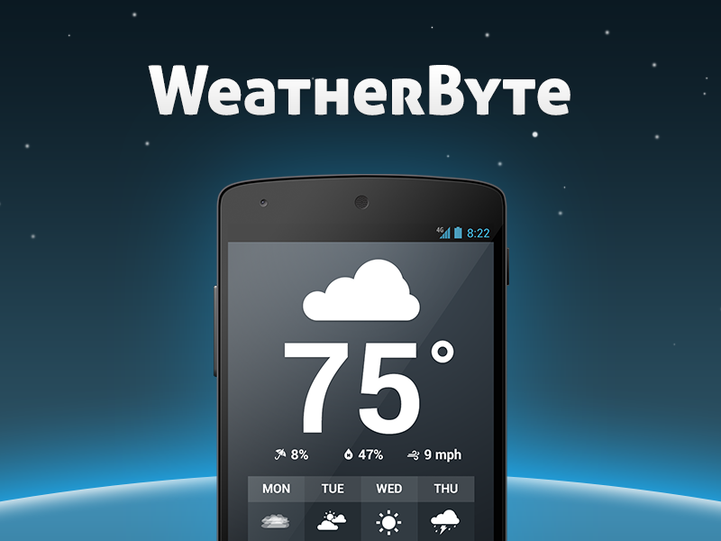 Weatherbyte for Android weather app android weatherbyte temperature blue forecast forecast.io cloudy icons kitkat nexus 5