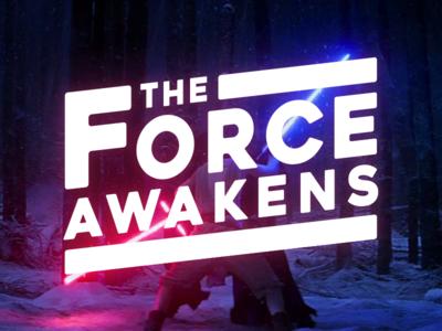The Force Awakens ren kylo rey blue red lightsaber typography logo awakens force wars star